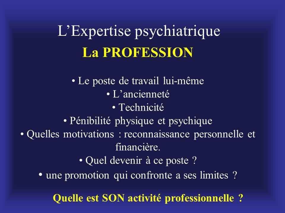La PROFESSION • Le poste de travail lui-même • L'ancienneté • Technicité • Pénibilité physique et psychique • Quelles motivations : reconnaissance per