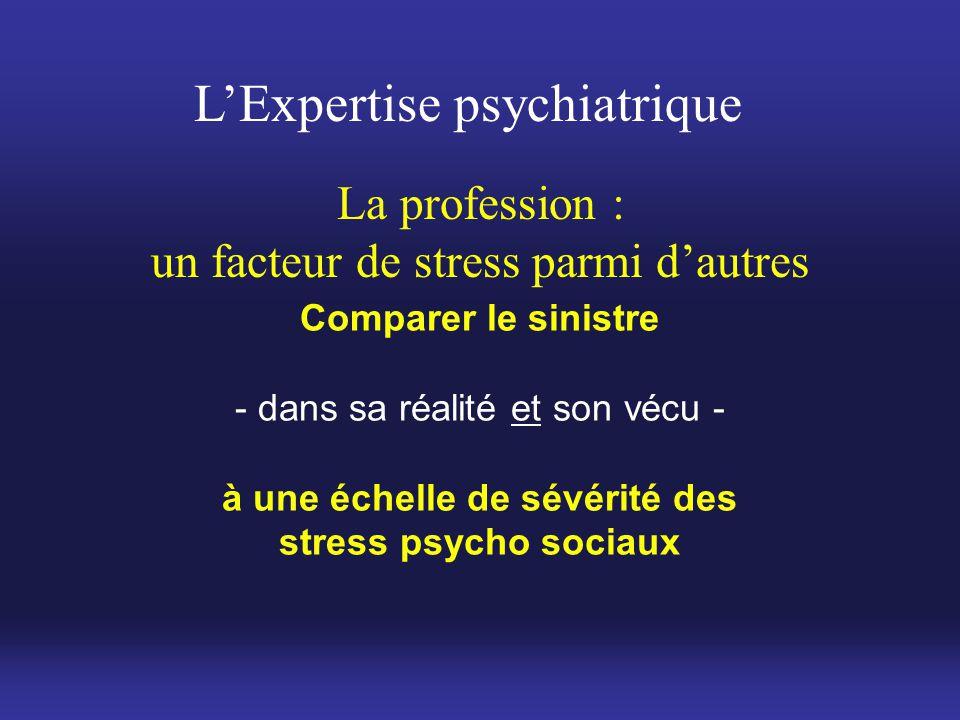 L'Expertise psychiatrique Comparer le sinistre - dans sa réalité et son vécu - à une échelle de sévérité des stress psycho sociaux La profession : un