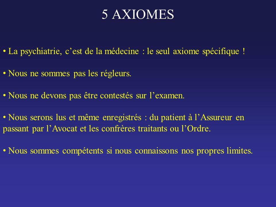 5 AXIOMES • La psychiatrie, c'est de la médecine : le seul axiome spécifique ! • Nous ne sommes pas les régleurs. • Nous ne devons pas être contestés