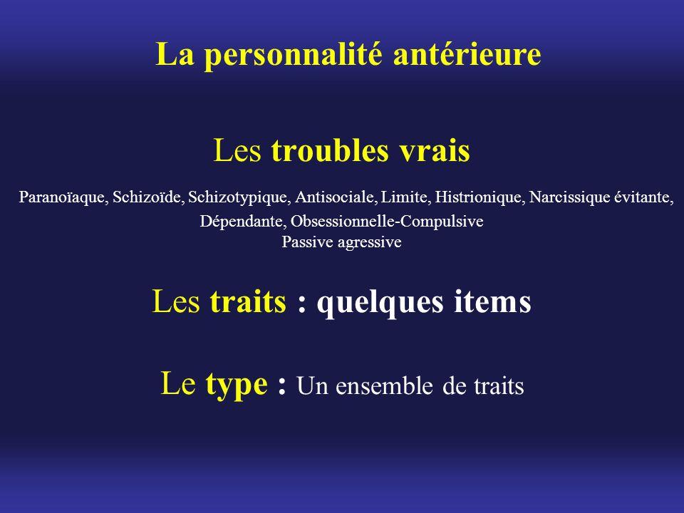 Les troubles vrais Paranoïaque, Schizoïde, Schizotypique, Antisociale, Limite, Histrionique, Narcissique évitante, Dépendante, Obsessionnelle-Compulsi