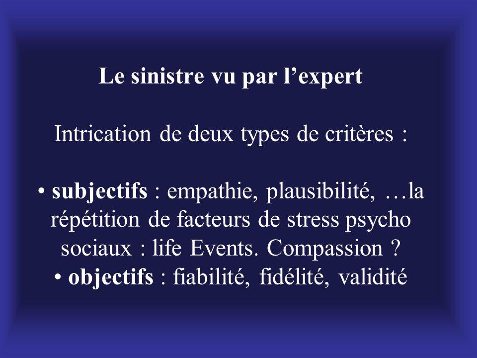 Le sinistre vu par l'expert Intrication de deux types de critères : • subjectifs : empathie, plausibilité, …la répétition de facteurs de stress psycho