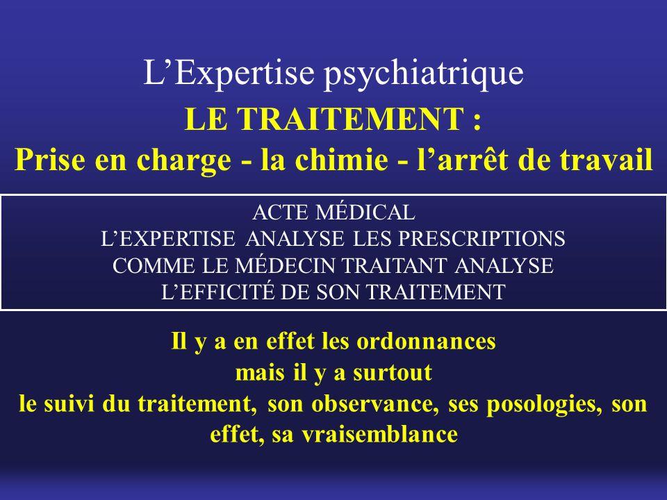 Il y a en effet les ordonnances mais il y a surtout le suivi du traitement, son observance, ses posologies, son effet, sa vraisemblance L'Expertise ps