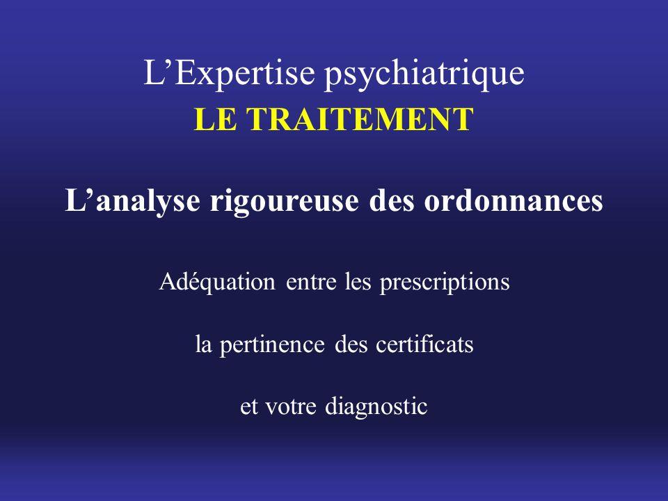 Adéquation entre les prescriptions la pertinence des certificats et votre diagnostic L'Expertise psychiatrique LE TRAITEMENT L'analyse rigoureuse des