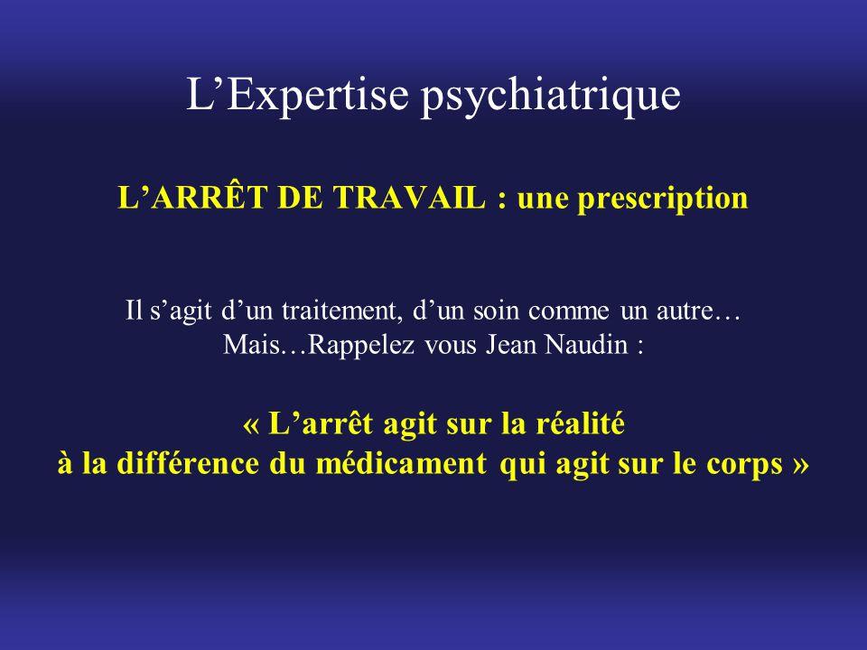 L'ARRÊT DE TRAVAIL : une prescription Il s'agit d'un traitement, d'un soin comme un autre… Mais…Rappelez vous Jean Naudin : « L'arrêt agit sur la réal