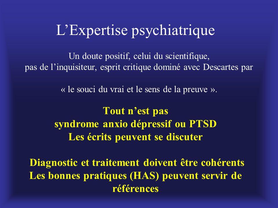Tout n'est pas syndrome anxio dépressif ou PTSD Les écrits peuvent se discuter Diagnostic et traitement doivent être cohérents Les bonnes pratiques (H