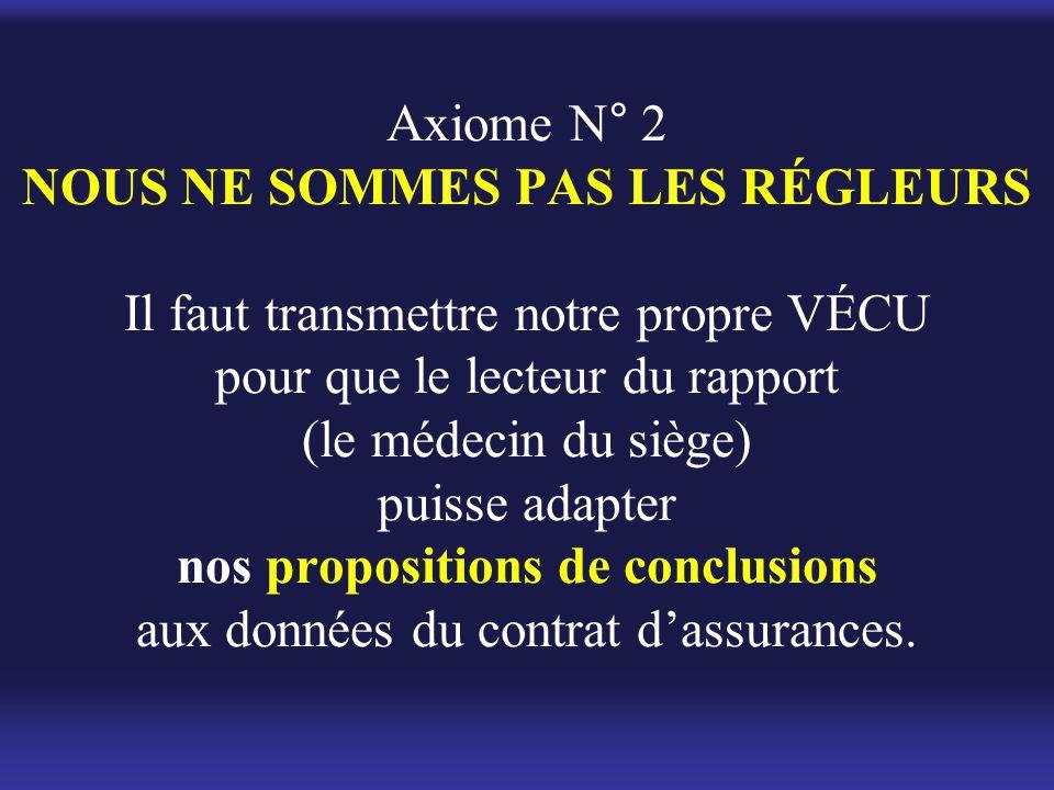 Axiome N° 2 NOUS NE SOMMES PAS LES RÉGLEURS Il faut transmettre notre propre VÉCU pour que le lecteur du rapport (le médecin du siège) puisse adapter