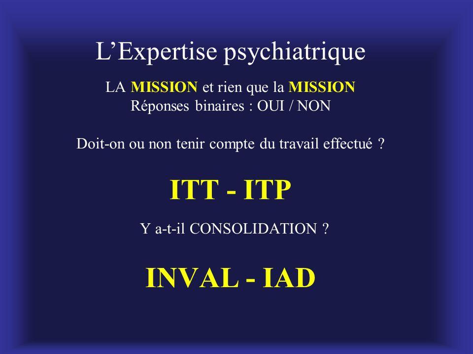 L'Expertise psychiatrique LA MISSION et rien que la MISSION Réponses binaires : OUI / NON Doit-on ou non tenir compte du travail effectué ? ITT - ITP