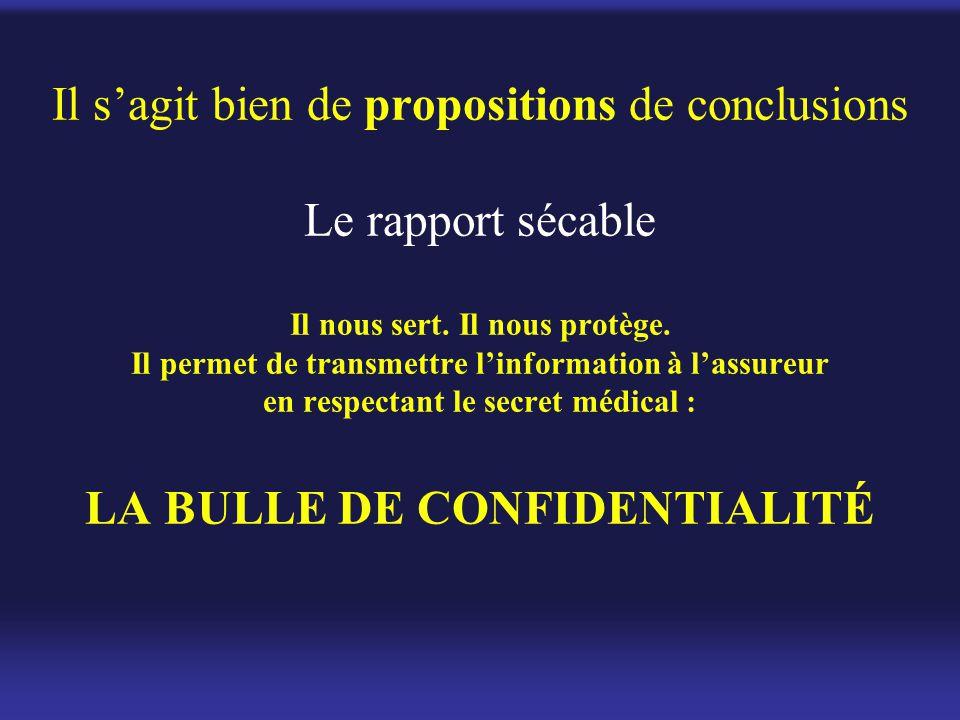 Il s'agit bien de propositions de conclusions Le rapport sécable Il nous sert. Il nous protège. Il permet de transmettre l'information à l'assureur en