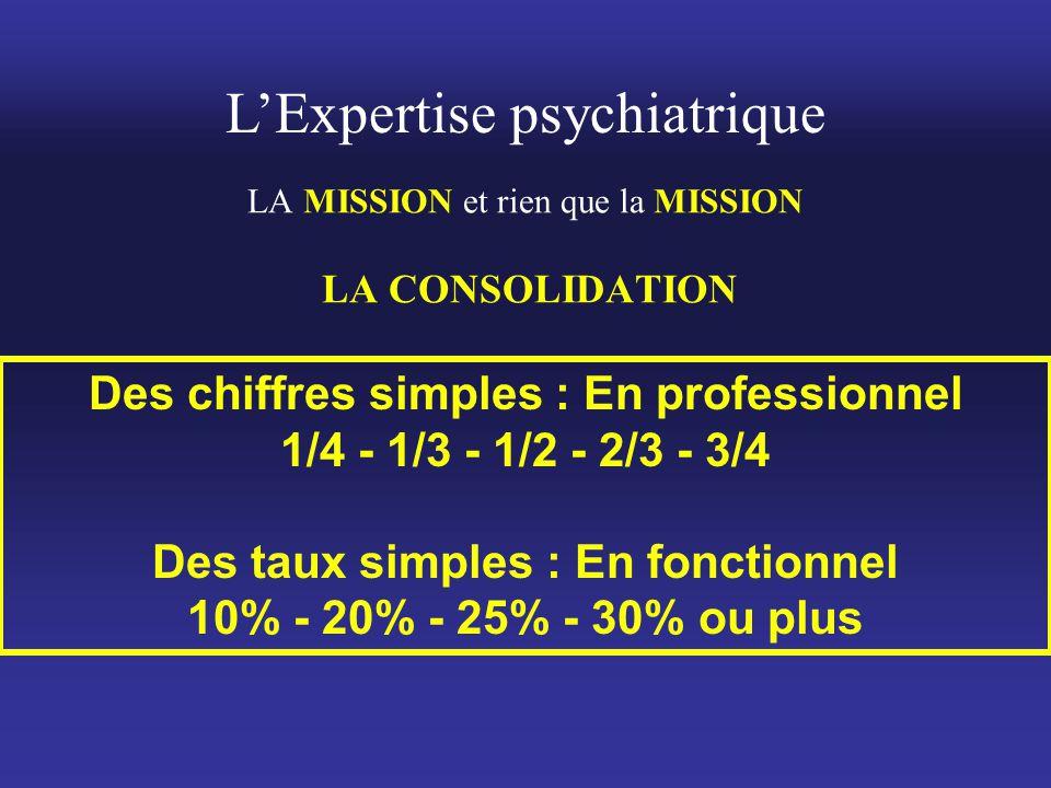 L'Expertise psychiatrique LA MISSION et rien que la MISSION LA CONSOLIDATION Des chiffres simples : En professionnel 1/4 - 1/3 - 1/2 - 2/3 - 3/4 Des t