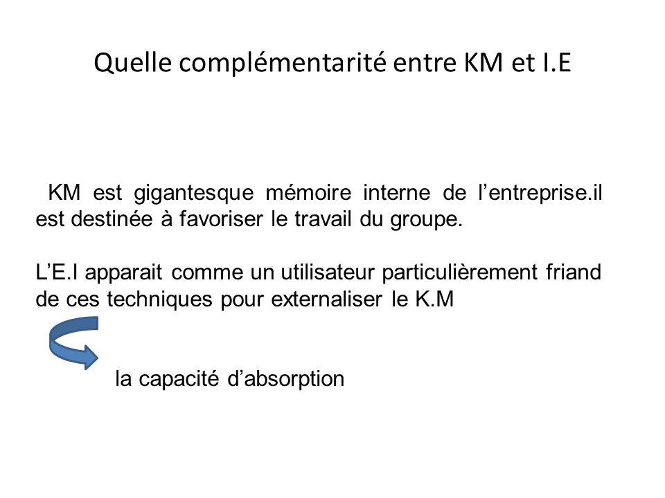 Quelle complémentarité entre KM et I.E KM est gigantesque mémoire interne de l'entreprise.il est destinée à favoriser le travail du groupe. L'E.I appa