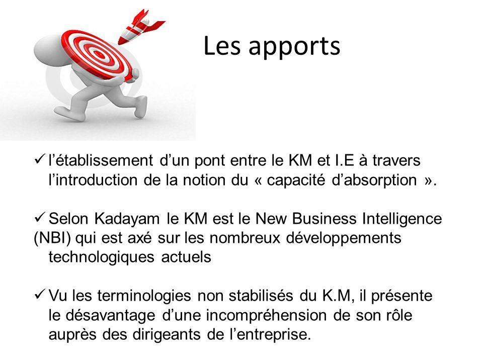 Les apports  l'établissement d'un pont entre le KM et I.E à travers l'introduction de la notion du « capacité d'absorption ».  Selon Kadayam le KM e