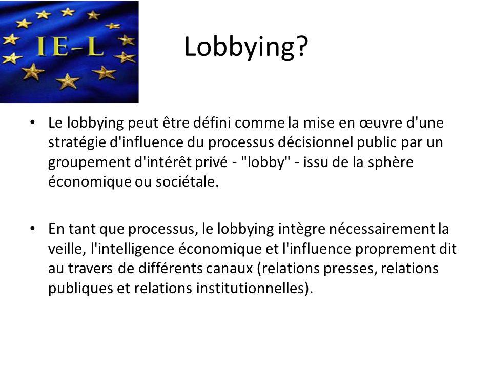 Lobbying? • Le lobbying peut être défini comme la mise en œuvre d'une stratégie d'influence du processus décisionnel public par un groupement d'intérê