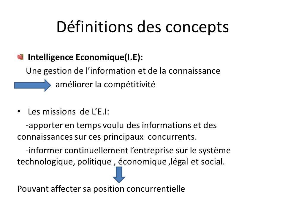 Définitions des concepts Intelligence Economique(I.E): Une gestion de l'information et de la connaissance améliorer la compétitivité • Les missions de