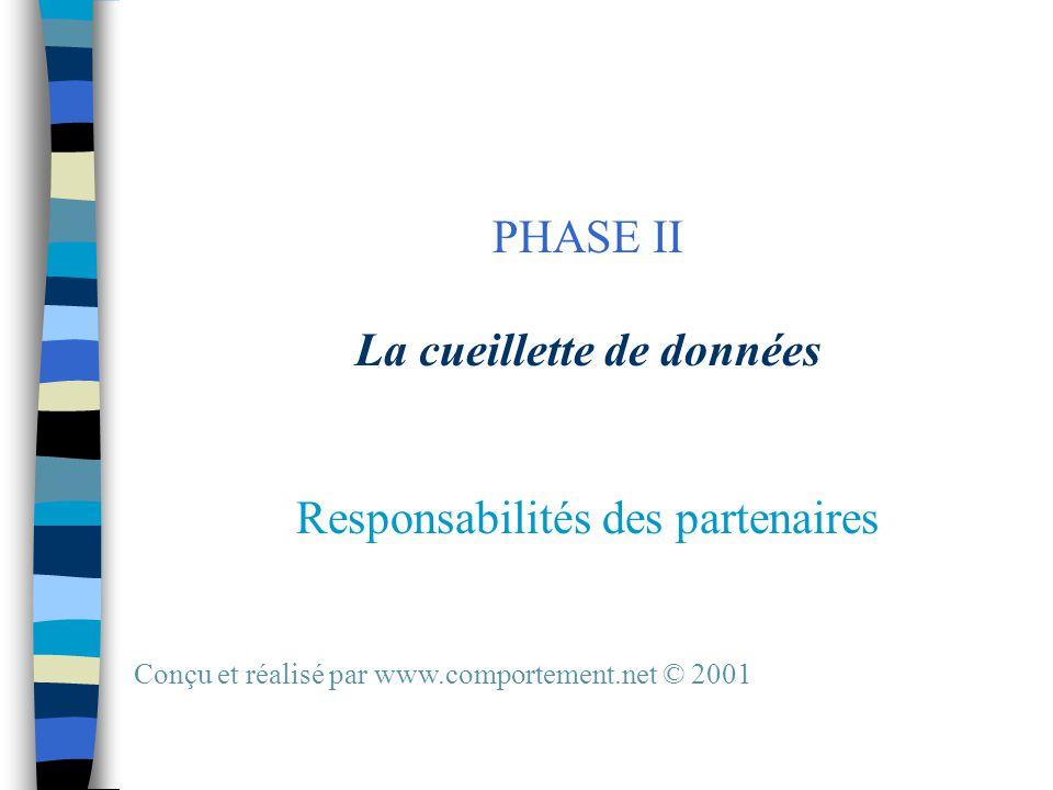 PHASE II La cueillette de données Responsabilités des partenaires Conçu et réalisé par www.comportement.net © 2001