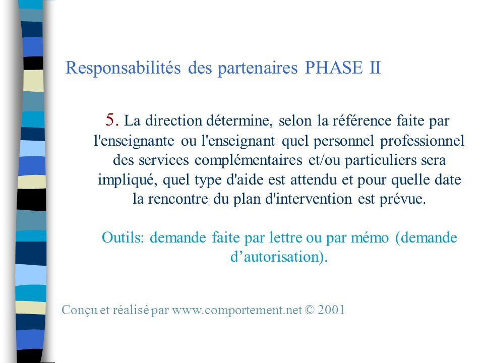 Responsabilités des partenaires PHASE II 5.