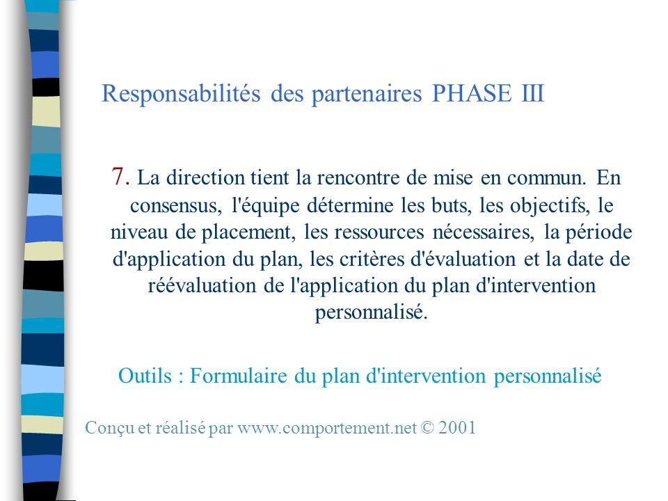 Responsabilités des partenaires PHASE III 7. La direction tient la rencontre de mise en commun.