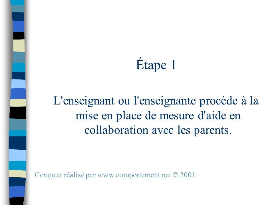 Étape 1 L enseignant ou l enseignante procède à la mise en place de mesure d aide en collaboration avec les parents.