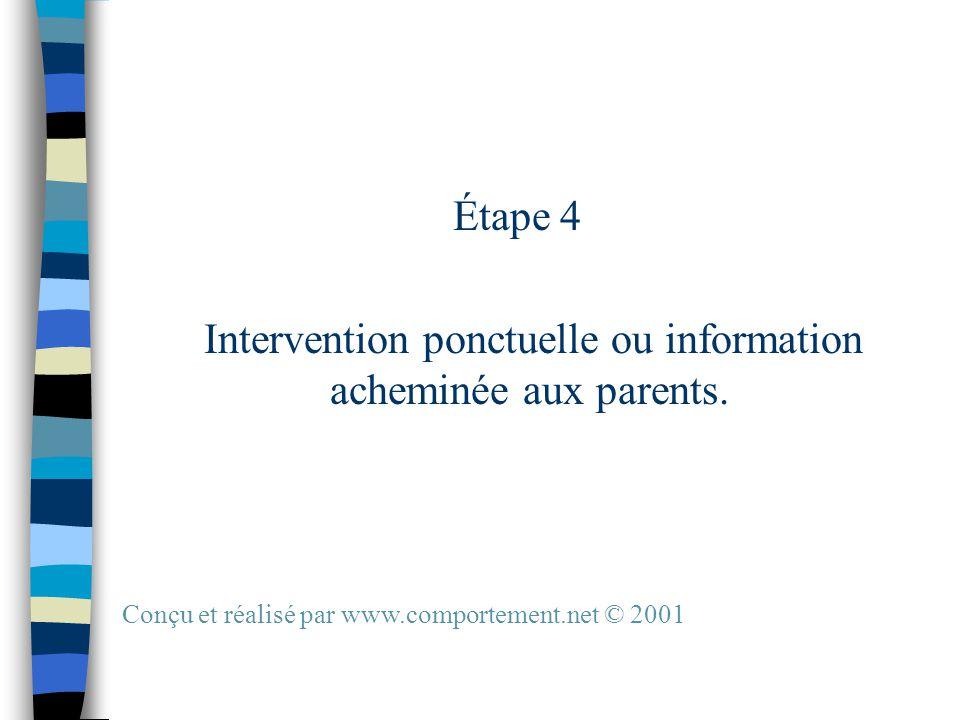 Étape 4 Intervention ponctuelle ou information acheminée aux parents.