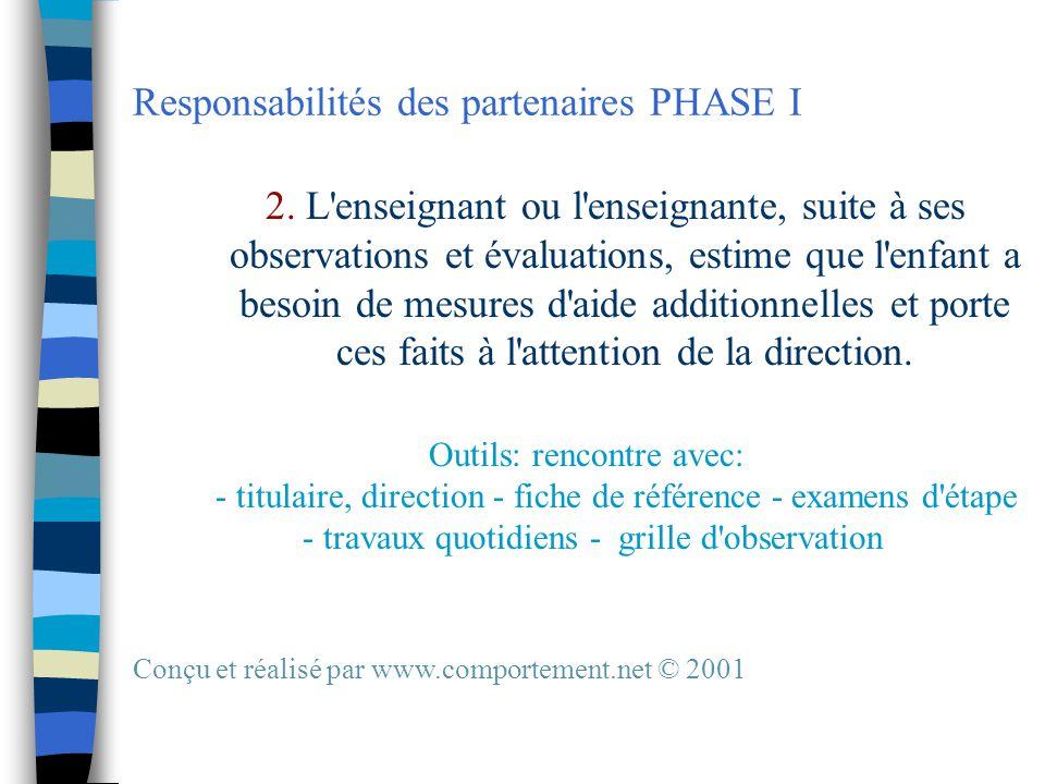 Responsabilités des partenaires PHASE I 2.