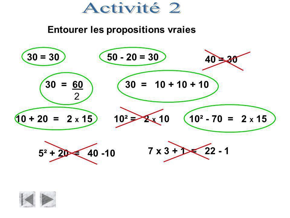 Entourer les propositions vraies 30 = 3050 - 20 = 30 40 = 30 30 = 60 2 30 = 10 + 10 + 10 10 + 20 = 2 x 1510² - 70 = 2 x 15 5² + 20 = 40 -10 7 x 3 + 1