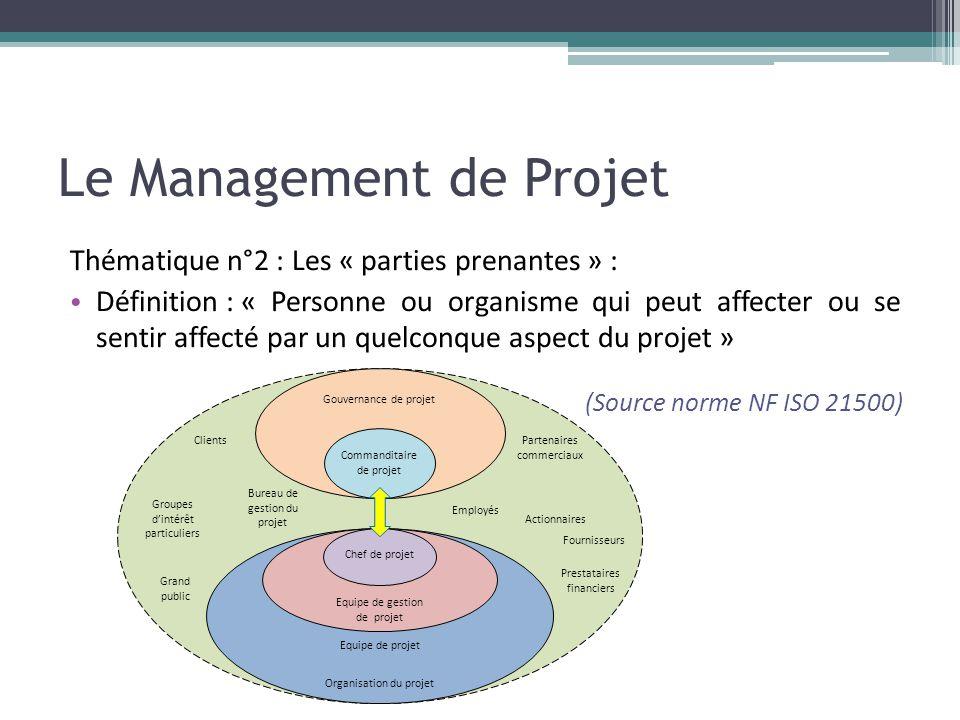 Le Management de Projet Thématique n°2 : Les « parties prenantes » : • Définition : « Personne ou organisme qui peut affecter ou se sentir affecté par