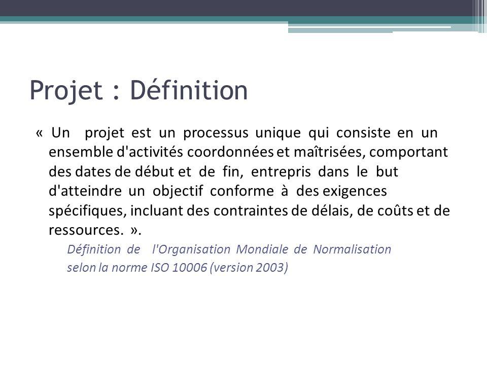 Projet : Définition « Un projet est un processus unique qui consiste en un ensemble d'activités coordonnées et maîtrisées, comportant des dates de déb