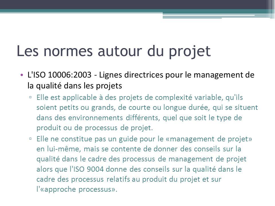Les normes autour du projet • L'ISO 10006:2003 - Lignes directrices pour le management de la qualité dans les projets ▫ Elle est applicable à des proj