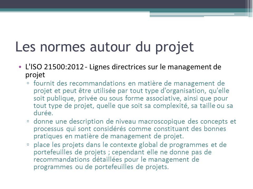 Les normes autour du projet • L'ISO 21500:2012 - Lignes directrices sur le management de projet ▫ fournit des recommandations en matière de management