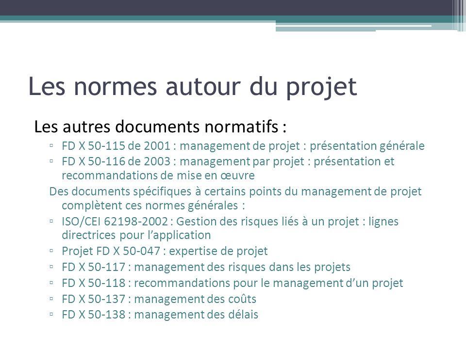 Les normes autour du projet Les autres documents normatifs : ▫ FD X 50-115 de 2001 : management de projet : présentation générale ▫ FD X 50-116 de 200