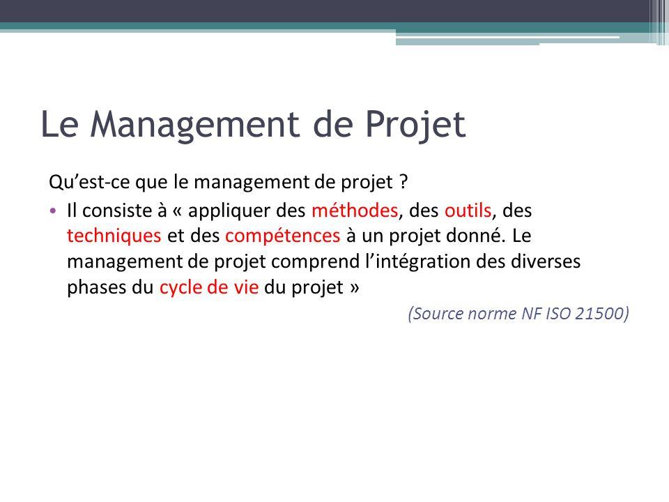 Le Management de Projet Qu'est-ce que le management de projet ? • Il consiste à « appliquer des méthodes, des outils, des techniques et des compétence