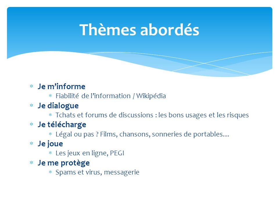  Je m'informe  Fiabilité de l'information / Wikipédia  Je dialogue  Tchats et forums de discussions : les bons usages et les risques  Je téléchar