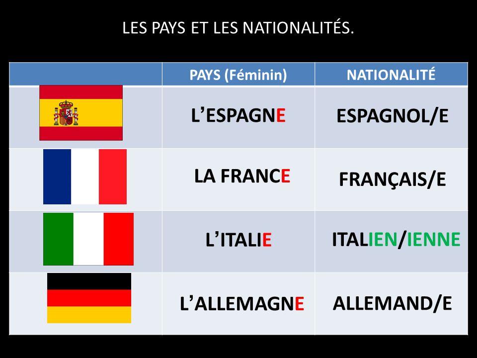 Avant de nous entraîner, révisons certains pays et leurs nationalités….