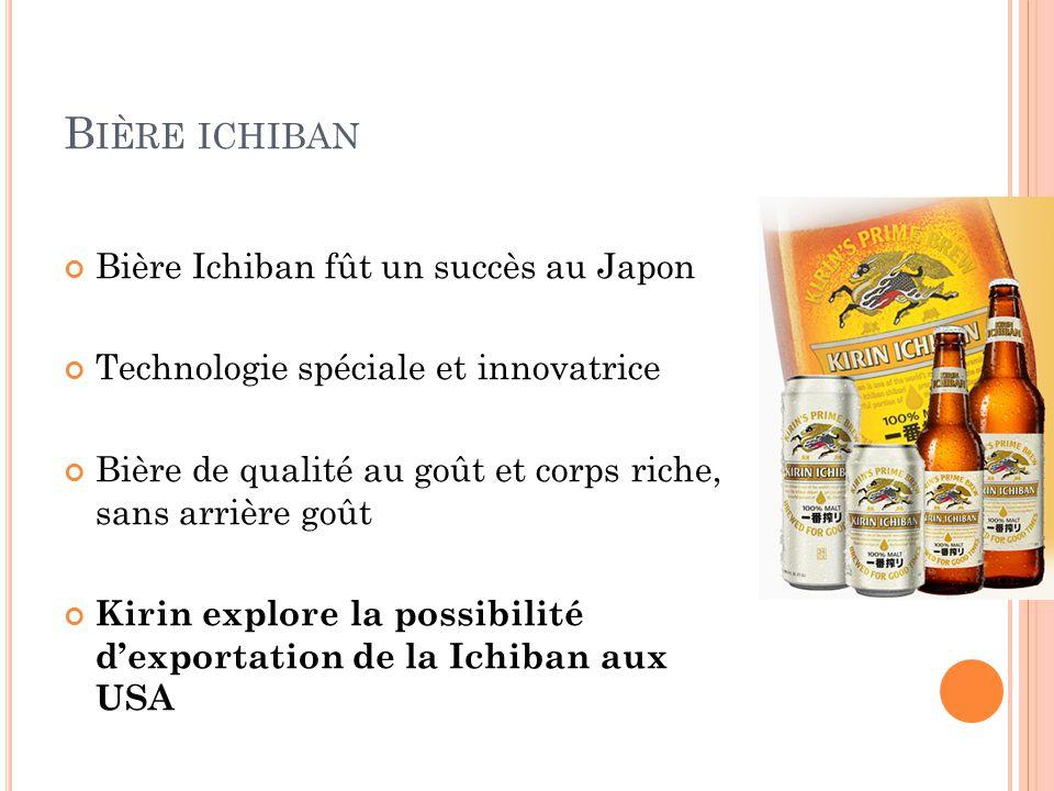 B IÈRE ICHIBAN Bière Ichiban fût un succès au Japon Technologie spéciale et innovatrice Bière de qualité au goût et corps riche, sans arrière goût Kir