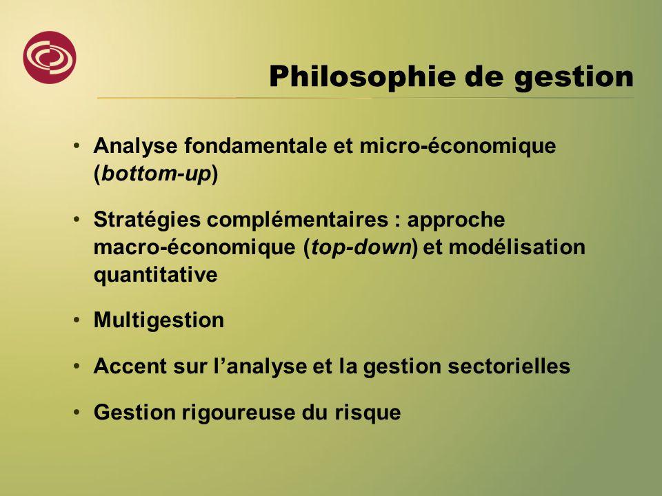 Philosophie de gestion •Analyse fondamentale et micro-économique (bottom-up) •Stratégies complémentaires : approche macro-économique (top-down) et mod