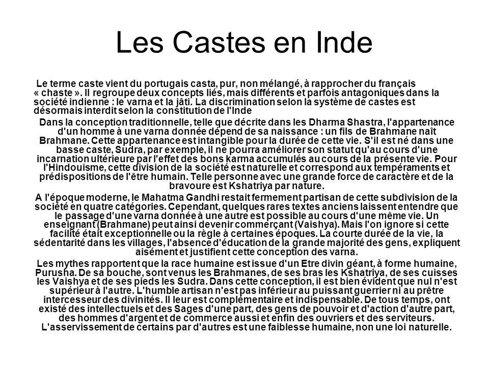 Le terme caste vient du portugais casta, pur, non mélangé, à rapprocher du français « chaste ». Il regroupe deux concepts liés, mais différents et par