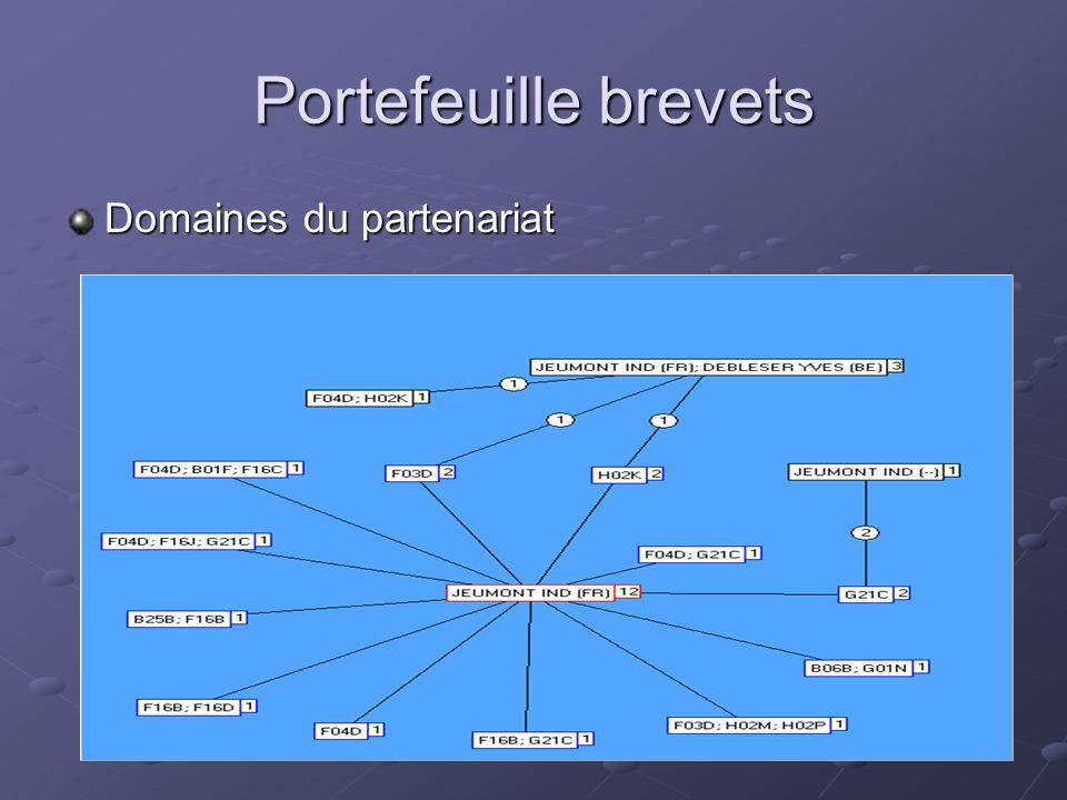 Portefeuille brevets Domaines du partenariat