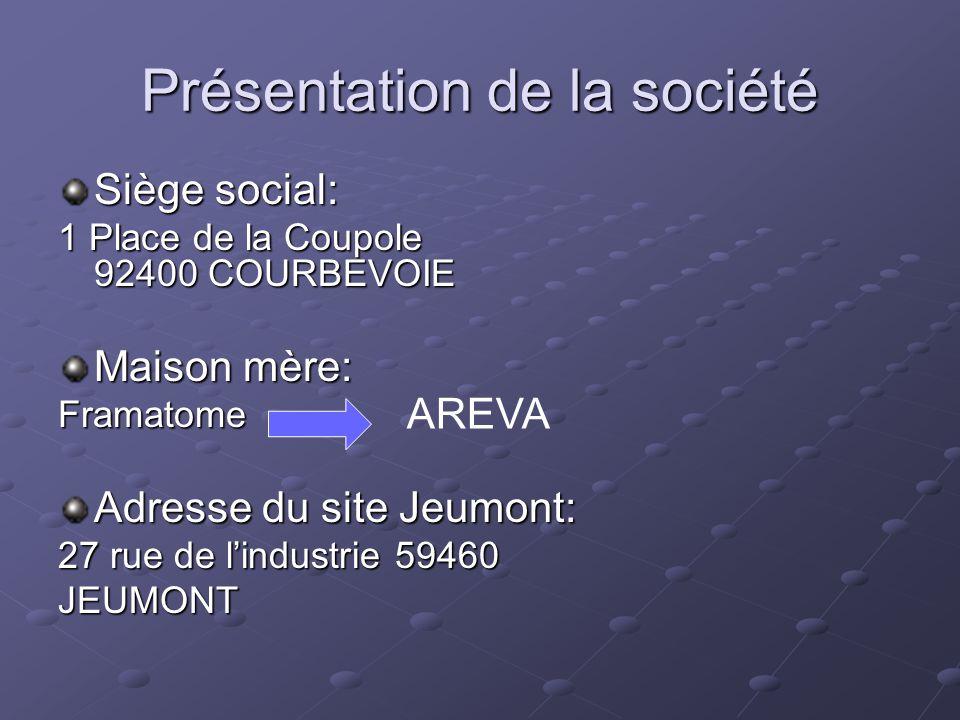 Présentation de la société Siège social: 1 Place de la Coupole 92400 COURBEVOIE Maison mère: Framatome Adresse du site Jeumont: 27 rue de l'industrie 59460 JEUMONT AREVA