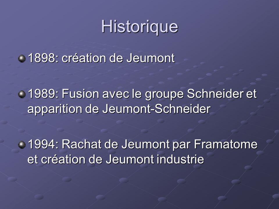 Historique 1898: création de Jeumont 1989: Fusion avec le groupe Schneider et apparition de Jeumont-Schneider 1994: Rachat de Jeumont par Framatome et création de Jeumont industrie