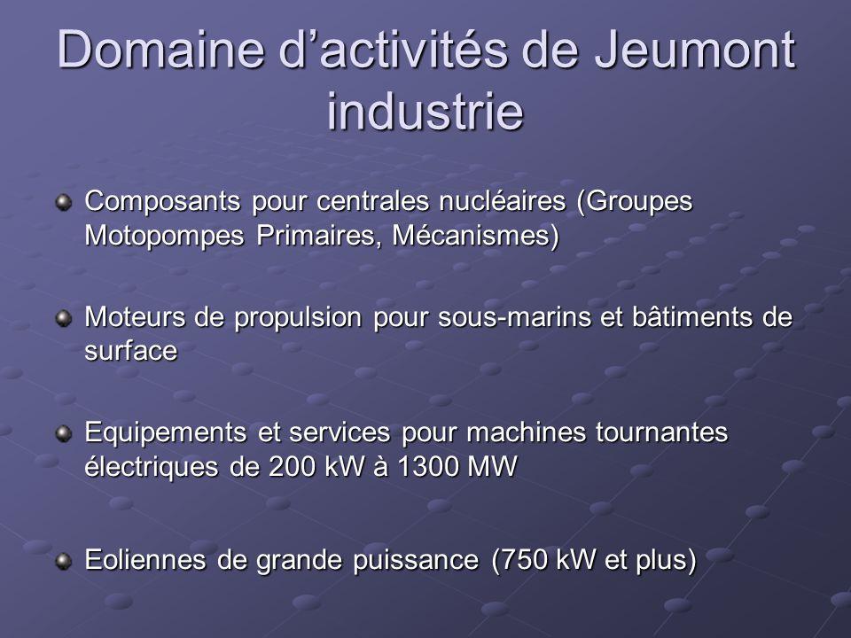 Domaine d'activités de Jeumont industrie Composants pour centrales nucléaires (Groupes Motopompes Primaires, Mécanismes) Moteurs de propulsion pour sous-marins et bâtiments de surface Equipements et services pour machines tournantes électriques de 200 kW à 1300 MW Eoliennes de grande puissance (750 kW et plus)