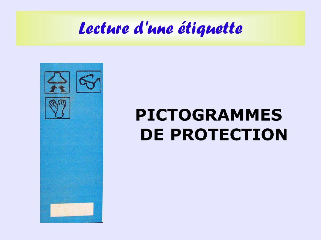 PICTOGRAMMES DE PROTECTION Lecture d une étiquette