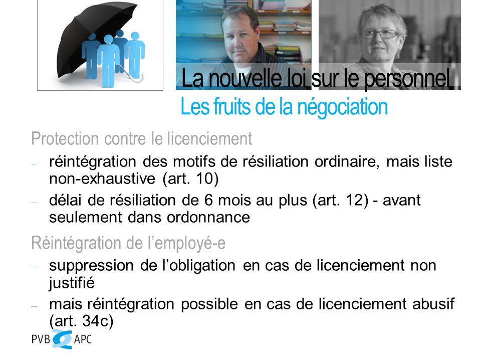 Protection contre le licenciement  réintégration des motifs de résiliation ordinaire, mais liste non-exhaustive (art.