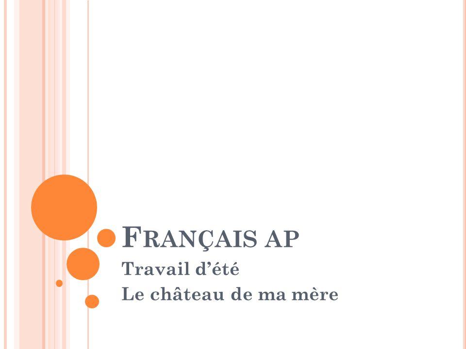 T RAVAIL D ' ÉTÉ - C ONTEXTE Pendant l'été, vous aviez à lire le roman « Le château de ma mère » de Marcel Pagnol.