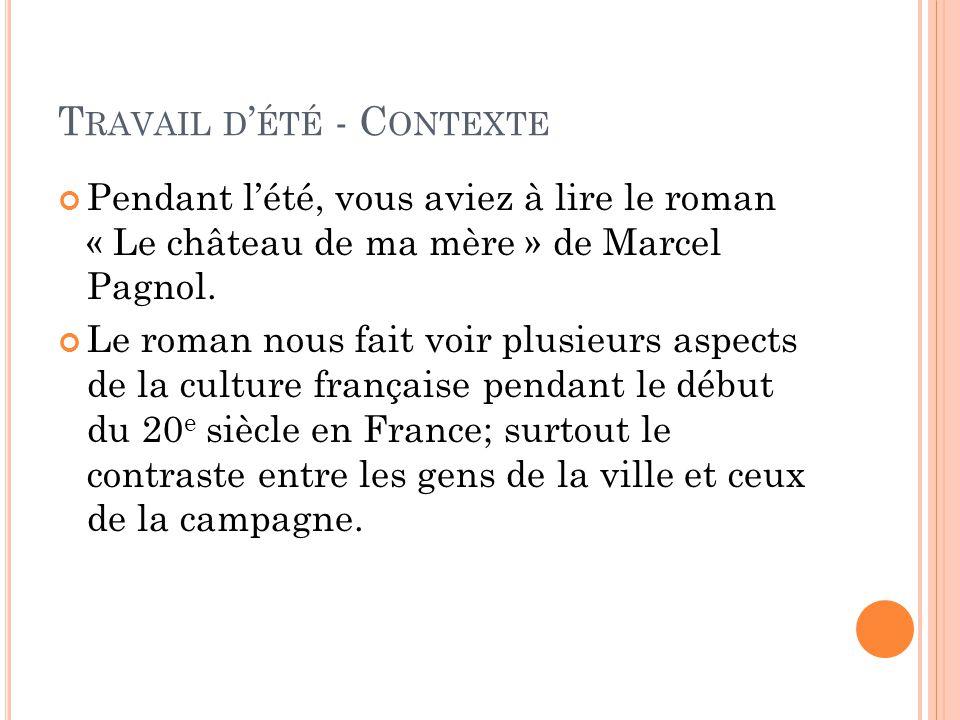 T RAVAIL D ' ÉTÉ - C ONTEXTE Pendant l'été, vous aviez à lire le roman « Le château de ma mère » de Marcel Pagnol. Le roman nous fait voir plusieurs a