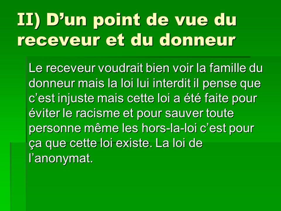II) D'un point de vue du receveur et du donneur Le receveur voudrait bien voir la famille du donneur mais la loi lui interdit il pense que c'est injus