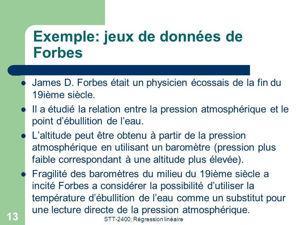 STT-2400; Régression linéaire 13 Exemple: jeux de données de Forbes  James D. Forbes était un physicien écossais de la fin du 19ième siècle.  Il a é