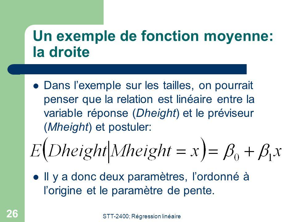 STT-2400; Régression linéaire 26 Un exemple de fonction moyenne: la droite  Dans l'exemple sur les tailles, on pourrait penser que la relation est linéaire entre la variable réponse (Dheight) et le préviseur (Mheight) et postuler:  Il y a donc deux paramètres, l'ordonné à l'origine et le paramètre de pente.