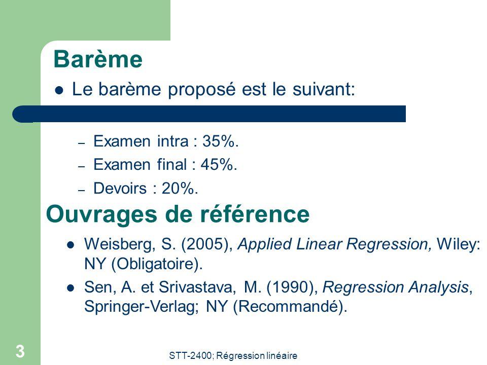 STT-2400; Régression linéaire 3 Barème  Le barème proposé est le suivant: – Examen intra : 35%.