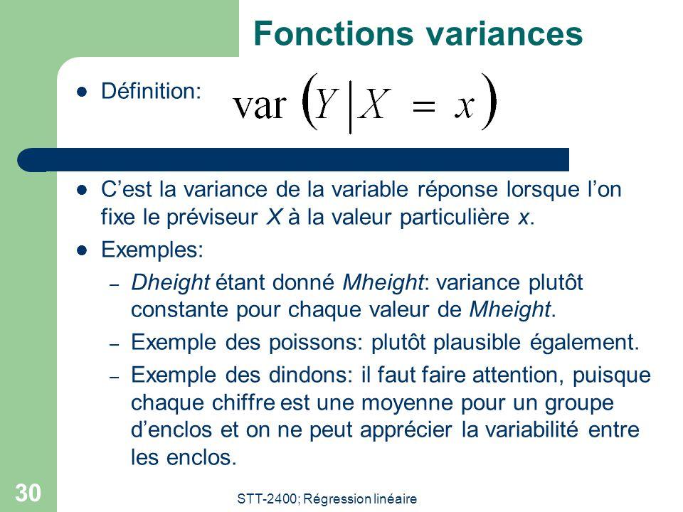 STT-2400; Régression linéaire 30 Fonctions variances  Définition:  C'est la variance de la variable réponse lorsque l'on fixe le préviseur X à la valeur particulière x.