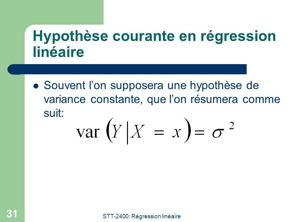 STT-2400; Régression linéaire 31 Hypothèse courante en régression linéaire  Souvent l'on supposera une hypothèse de variance constante, que l'on résu