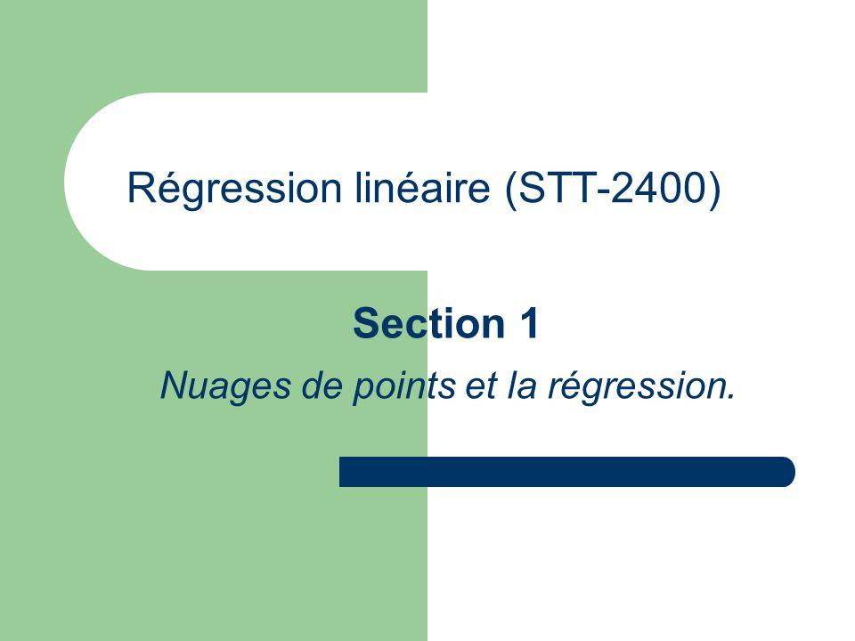 Régression linéaire (STT-2400) Section 1 Nuages de points et la régression.